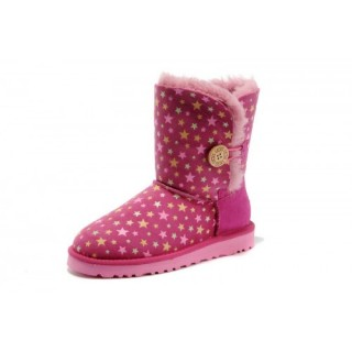 2016 Ugg Magasin Femmes Lumineux Etoiles Bailey Button Bottes 5803 Rose