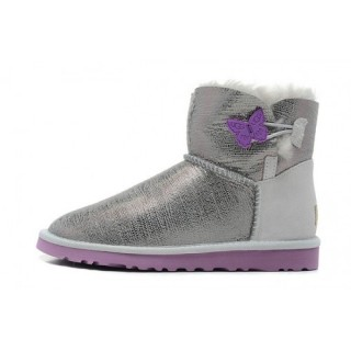 Ugg Australia Outlet Mini Bailey Button Lizard 1002678 Bottes Argent