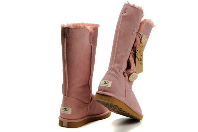 UGG Bailey Button Triplet Bottes 1873 Rose noir 2015