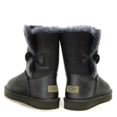 UGG Femmes Classic Leather Bottes Bailey Button 5803 Gris