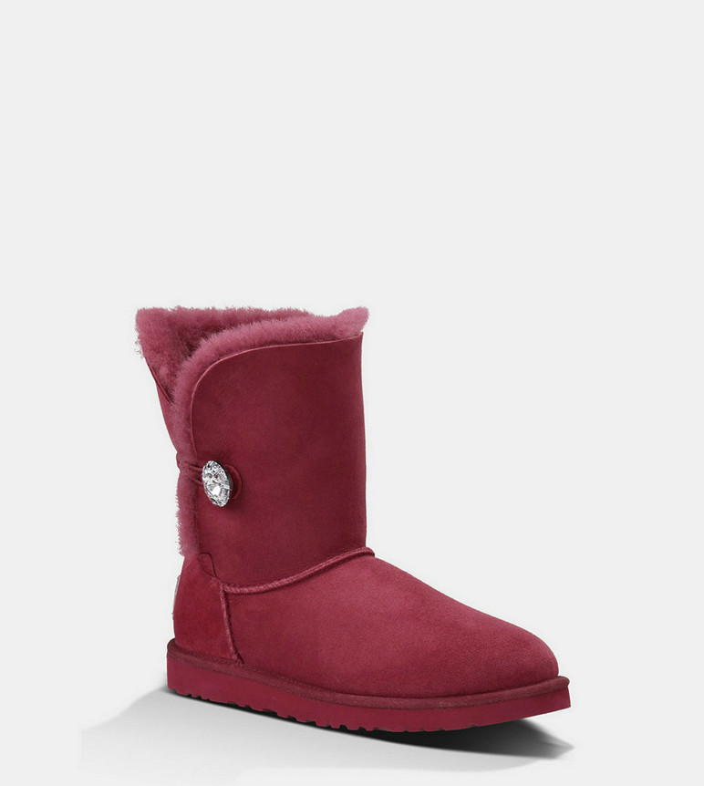 Discount UGG Bottes Bailey Button Bling 3349 Vin rouge