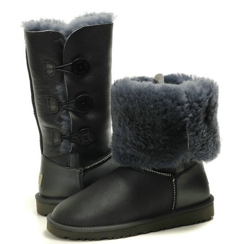 UGG Bailey Button Triplet Leahter Bottes 1873 Gris Vente