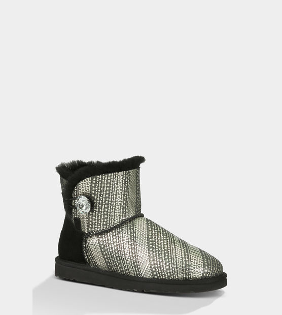 UGG Bottes Mini Bailey Button Bling 1003735 noir